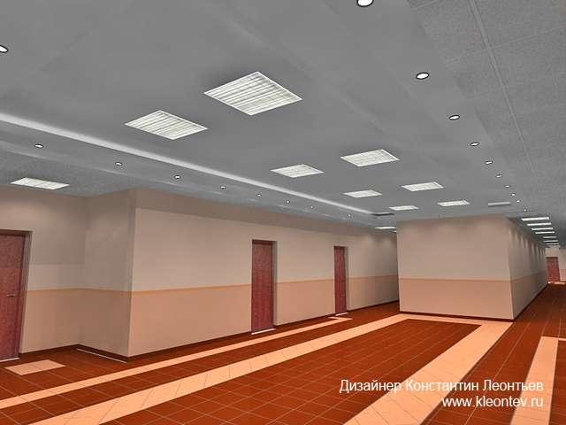 Трехмерная визуализация коридора в офисе
