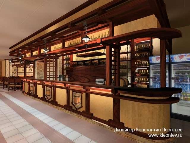 3Д визуализация барной стойки в интерьере
