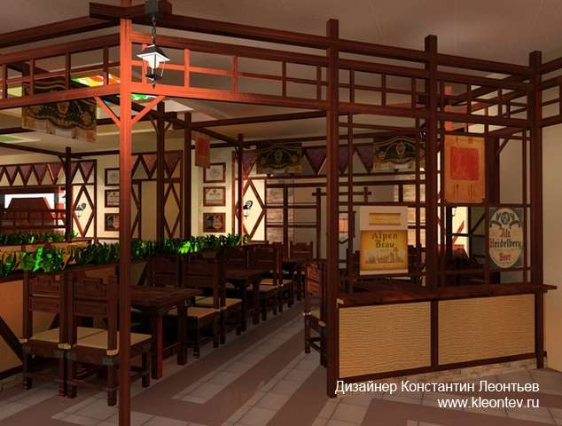 3Д изображение зала пивного бара