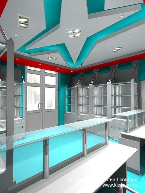 3Д изображение интерьера магазина