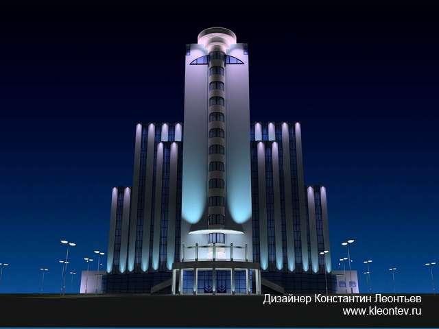 3Д визуализация фасада ночной вид