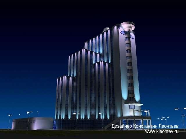 Трехмерная визуализация подсветки фасада