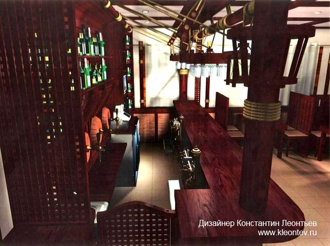 3Д изображение барной стойки в кафе