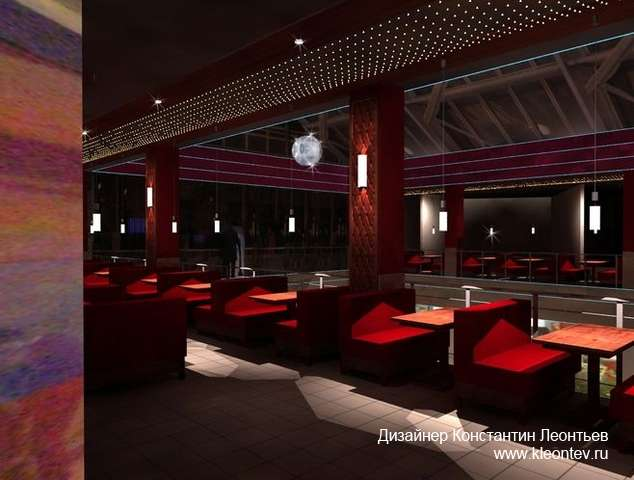 3Д визуализация интерьера кафе в торговом центре