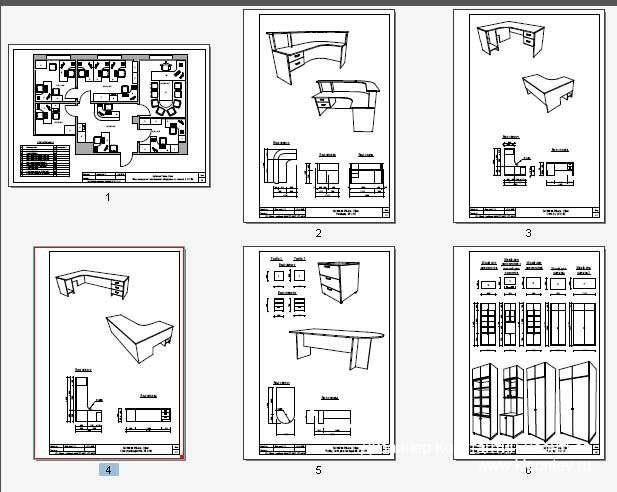 Листы чертежей мебели для гостиницы
