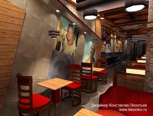 3Д изображение интерьера кафе
