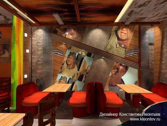 Столики и диваны вдоль стены