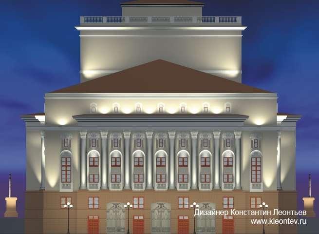 3Д изображения подсветки фасада