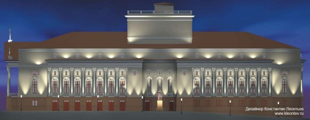 3Д визуализация фасада оперного театра в Казани