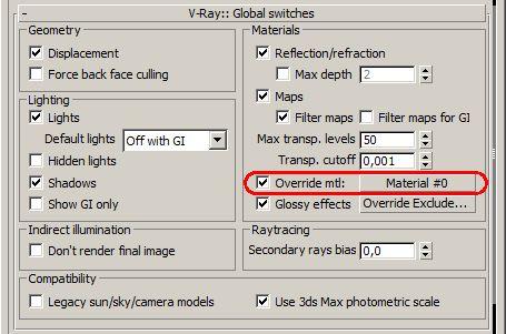 Замена всех материалов сцены при рендеринге в настройках V-Ray