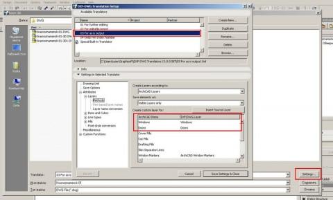 Окно сохранения 3D модели ArchiCAD в DWG файл