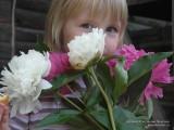 Фото девочка с букетом пионов