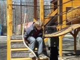 Мальчик играет на детской площадке в Филевском парке фото