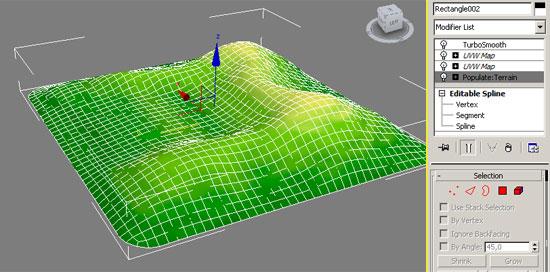 Построение ландшафта плагином Populate: Terrain в 3ds Max