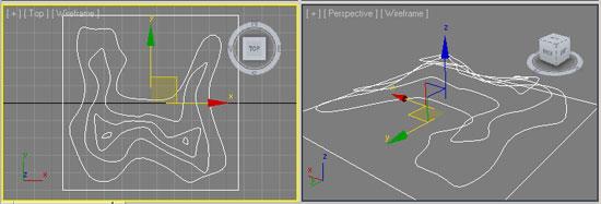 Сплайны-горизонтали для пострения земной поверхности в 3ds Max