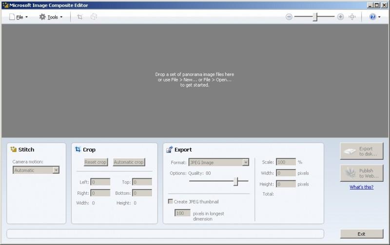 Окно программы для склейки панорам Microsoft Image Composite Editor