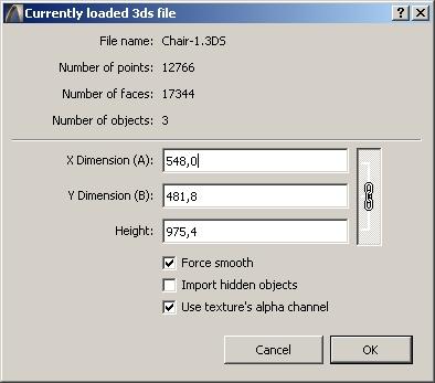 Диалоговое окно Convert 3ds to GDL object в ArchiCAD