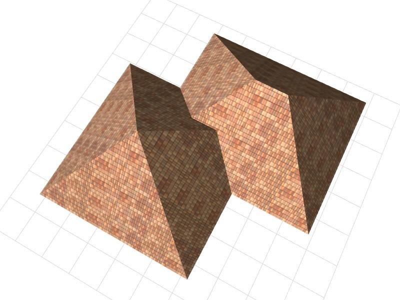 Многоскатная крыша в окне перспективы