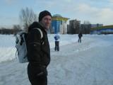 На коньках с рюкзаком
