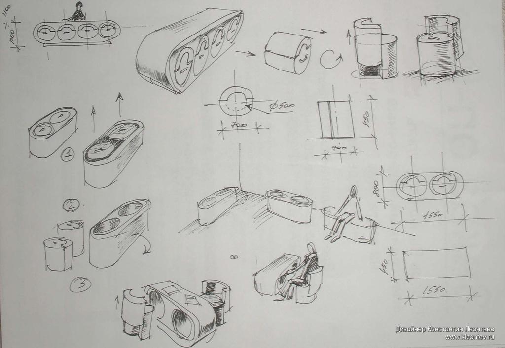 Мебель трансформер для офиса Интерьеры Рисунок на бумаге Первоначальные эскизы мебели