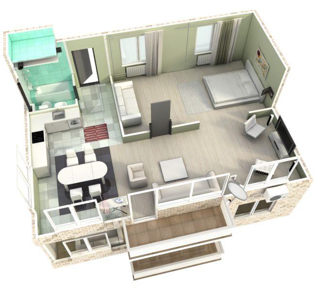3Д визуализация квартиры в разрезе