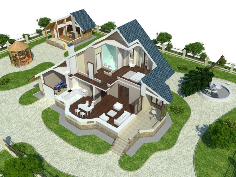 3Д визуализация дома в разрезе