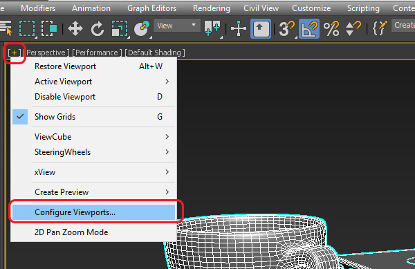 Меню Configure Viewports в 3ds Max