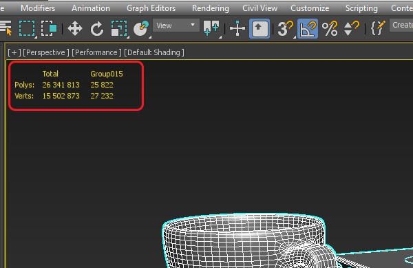 Показ количества полигонов во вьюпорте 3ds Max