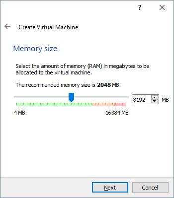 Задаем размер оперативной памяти