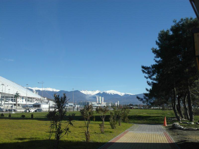 Вид на горы от детской площадки